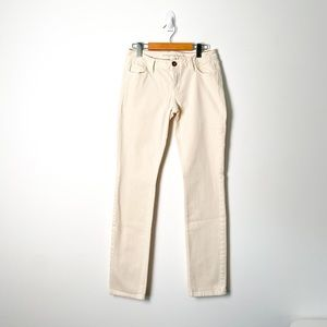 Banana Republic Mid Rise Skinny Cream White Jeans